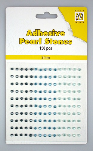 150 Adhesive pearls 3mm, 3-colors - Blue
