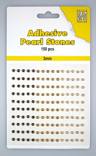 150 Adhesive pearls 3mm, 3-colors - Brown
