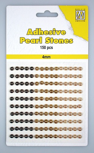 150 Adhesive pearls 4mm, 3-colors - Brown