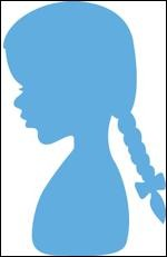 Creatables stencil silhouette girl with braids LR0350