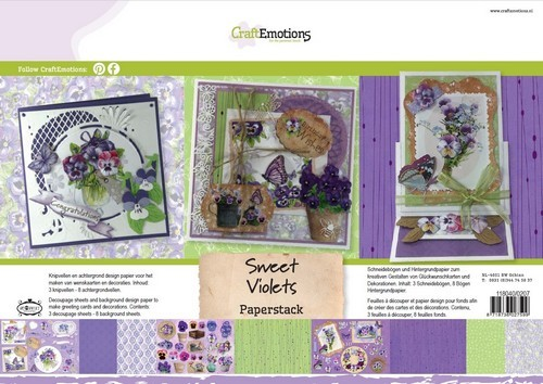 CraftEmotions Paper stack Sweet Violets 11 vel A4