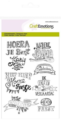 CraftEmotions clearstamps A6 - gefeliciteerd handlettering (NL)
