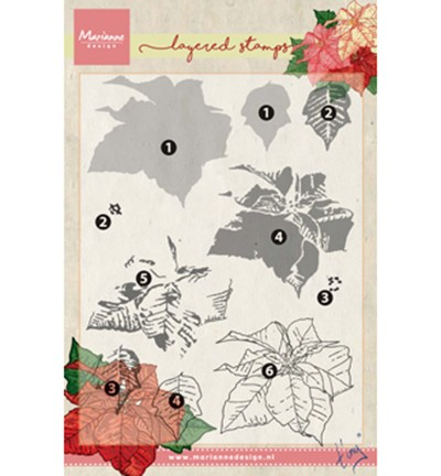 Marianne Design » Tiny`s poinsettia (layering) Clearstamp TC0859