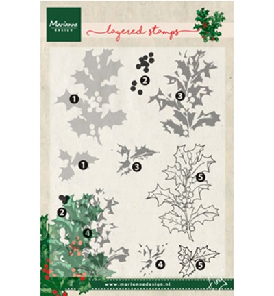 Marianne Design » Tiny`s holly (layering) Clearstamp TC0862
