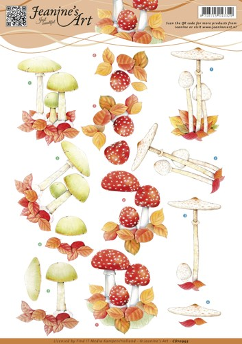 3D knipvel - Jeanine`s Art - Autumn mushrooms- paddestoel