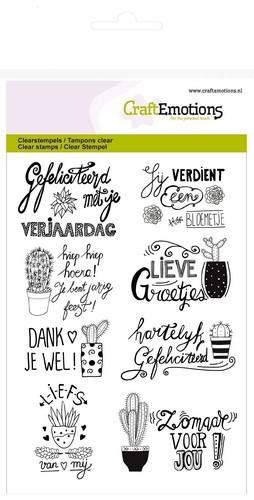 CraftEmotions clearstamps A6 - cactus handlettering (NL) Botanical Nature