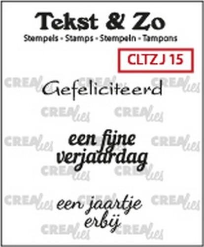 Crealies Clearstamp Tekst&Zo Jarig 15 (NL) 33 mm