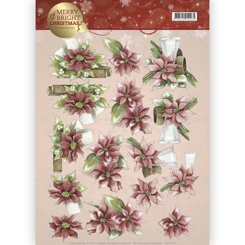 3D knipvel - Precious Marieke - Merry and Bright - Poinsettia in red