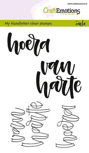 CraftEmotions clearstamps A6 - handletter - hoera van harte (NL) (02-18)