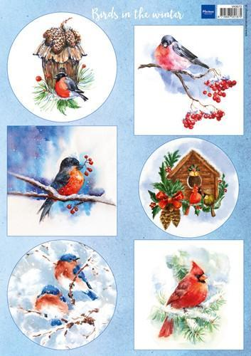 Marianne D Decoupage Birds in the snow VK9572