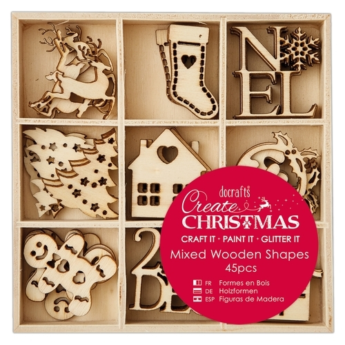 Small Mixed Wooden Shapes (45pcs) - Christmas Icons