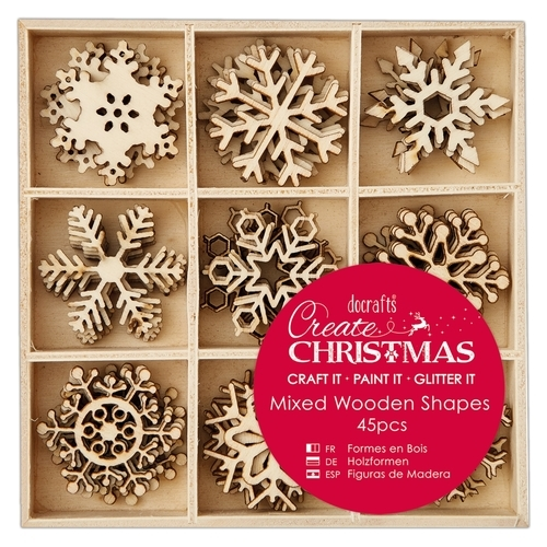 Small Mixed Wooden Shapes (45pcs) - Christmas Icons PMA 105947
