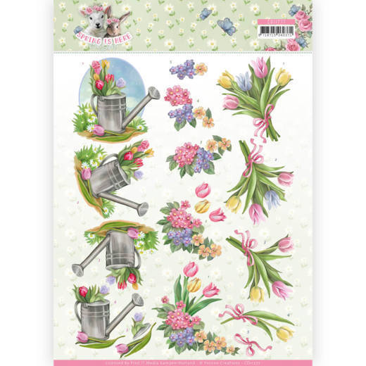 3D Knipvel - Amy Design - Spring is Here - Tulips-    tulpen-gieter