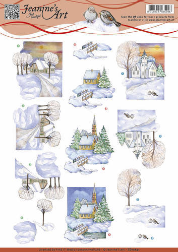 Jeanine`s Art - Winter landscape 2- winterlandschap