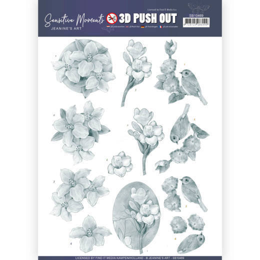 3D Push Out - Jeanine's Art - Sensitive Moments - Grey Freesias