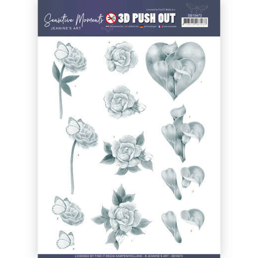 3D Push Out - Jeanine's Art - Sensitive Moments - Grey Calla Lily