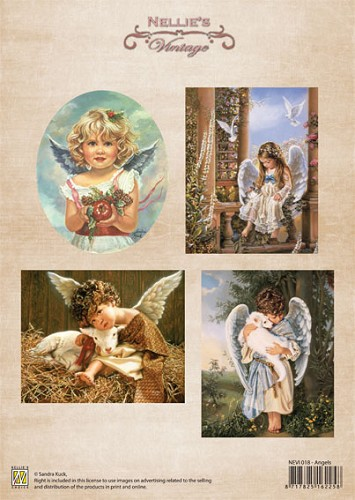 A4 sheet Christmas colour vintage Angels
