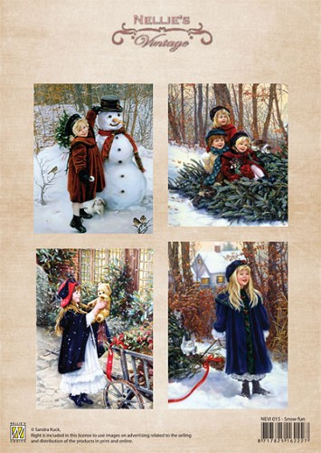 A4 sheet Christmas colour vintage snow fun