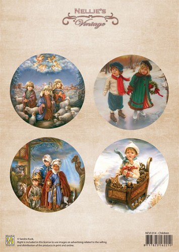 A4 sheet Christmas colour vintage children