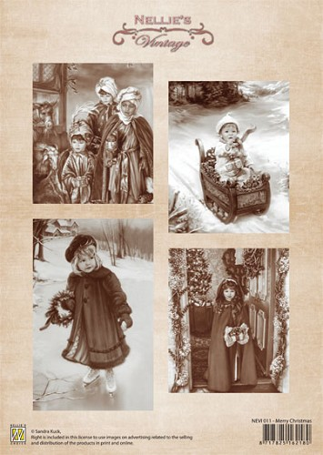 A4 sheet Christmas vintage Merry Christmas