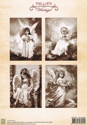 Decoupage sheets colour vintage little angels NEVI033