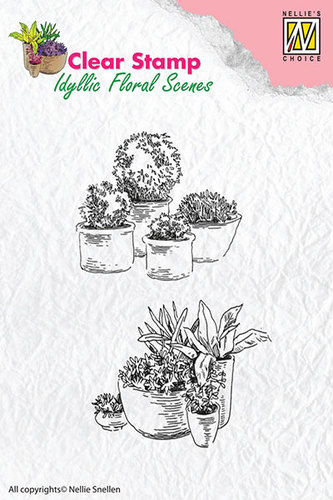 Clear Stamps - Pots with flowers