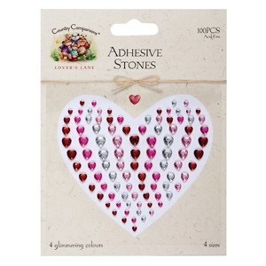 ADHESIVE STONES (100PCS) LOVERS LANE - HEARTS
