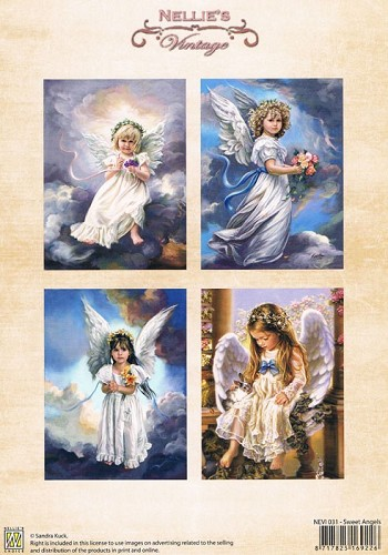 Decoupage sheets colour vintage Sweet angels NEVI031